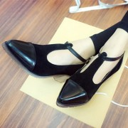 Spring-Fashion-Genuine-Leather-cow-leather-T-tied-Patch-Frework-Pointed-Toe-Med-Heel-Shoes-Sweet-3