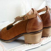 Spring-Fashion-Genuine-Leather-cow-leather-T-tied-Patch-Frework-Pointed-Toe-Med-Heel-Shoes-Sweet-5