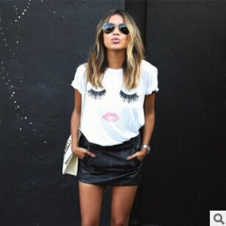 The-new-2015-summer-wear-lashes-lips-Red-lip-print-female-money-short-sleeve-T-shirt-1