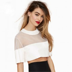White-Gauze-Crop-Top-2015-Fashion-Women-T-shirt-Girls-Casual-Sexy-Junior-Tops-Patchwork-T-1