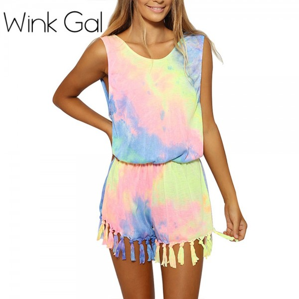Wink-Gal-Women-Summer-O-Neck-Tie-Dyed-Jumpsuits-Rainbow-Sleeveless-Tassel-Playsuits-For-Women-1
