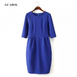 Women-Half-Sleeve-Bandage-Bodycon-Dress-High-Waist-Elegant-Slim-Zip-Back-Fastening-Vintage-OL-Breif-1