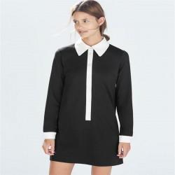 Women-Preppy-Style-Vintage-Dress-Patchwork-Peter-Pan-Collar-Design-Dresses-Cotton-Spandex-Stretch-Spring-Autumn-1
