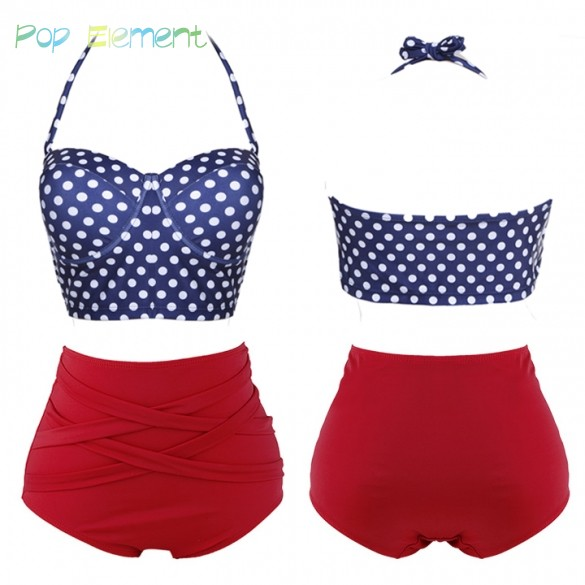 Women-Sexy-Two-Pieces-Swimsuit-Pin-Up-High-Waist-Polka-Dot-Push-up-Padded-Bikini-Sets-1