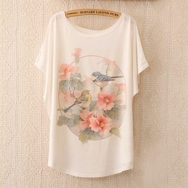 Women-Tops-T-Shirt-2015-New-Arrival-Women-s-T-Shirt-Brid-And-Flower-Print-T-1