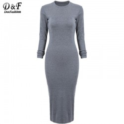 Women-s-Grey-Long-Sleeve-Skinny-Round-Neck-Back-Split-Slim-Pencil-Dresses-Modest-Formal-Elegant-1