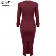 Women-s-Grey-Long-Sleeve-Skinny-Round-Neck-Back-Split-Slim-Pencil-Dresses-Modest-Formal-Elegant-6
