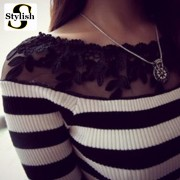 cotton-black-and-white-striped-blouse-Knitted-sweater-women-tops-fashion-2015-lace-floral-embroidery-shirts-2