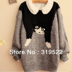 cute-flying-running-cat-kitty-animal-cartoon-o-neck-loose-womem-pullover-sweater-1