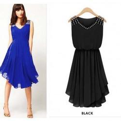 summer-dress-2015-New-women-s-Fashion-temperament-Diamond-Pleated-chiffon-Sleeveless-V-neck-strap-Slim-1