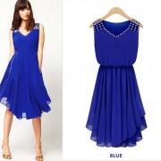summer-dress-2015-New-women-s-Fashion-temperament-Diamond-Pleated-chiffon-Sleeveless-V-neck-strap-Slim-2