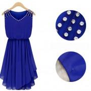summer-dress-2015-New-women-s-Fashion-temperament-Diamond-Pleated-chiffon-Sleeveless-V-neck-strap-Slim-3