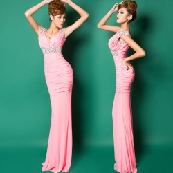 2015-Free-shipping-Red-Pink-Blue-stretchy-beaded-Party-Prom-Gowns-Formal-Evening-dresses-vestidos-de-1
