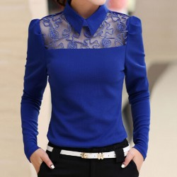 2015-Women-Solid-Chiffon-Peter-Pan-Collar-Blouse-Cute-Work-SlimT-Shirt-Gauze-Patchwork-Hollow-Out-1