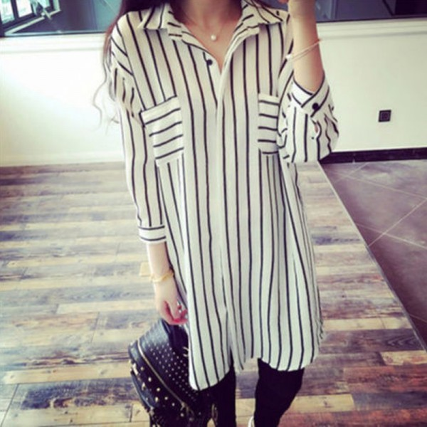 5xl-Autumn-Homecoming-Long-Shirt-Oversized-Lady-Office-TurnDown-Collar-Slim-Vertical-Striped-Black-White-Chiffon-1