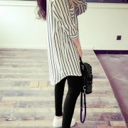 5xl-Autumn-Homecoming-Long-Shirt-Oversized-Lady-Office-TurnDown-Collar-Slim-Vertical-Striped-Black-White-Chiffon-2