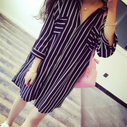 5xl-Autumn-Homecoming-Long-Shirt-Oversized-Lady-Office-TurnDown-Collar-Slim-Vertical-Striped-Black-White-Chiffon-3