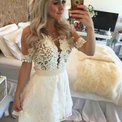 Lace-Cocktail-Dress-2016-Short-Sleeves-robe-de-cocktail-Pearls-Ivory-Short-Mini-Dress-Party-Short-1