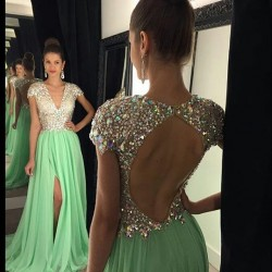 New-Style-2016-A-Line-V-Neck-Short-Sleeves-Long-Slit-Evening-Dress-Chiffon-Open-Back-1