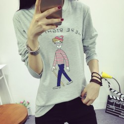 Real-Shot-2015-autumn-new-korean-fashion-women-T-shirt-printing-loose-big-size-cartoon-long-1
