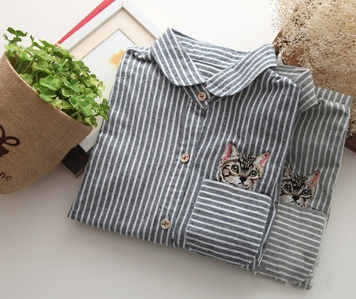 Striped-pocket-cat-embroidery-peter-pan-collar-cute-shirt-spring-blouse-mori-girl-1