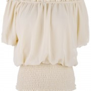 White-Beige-Black-Peasant-Boho-Style-Smocked-Waist-Chiffon-Loose-Blouse-Short-Top-For-Women-Size-3