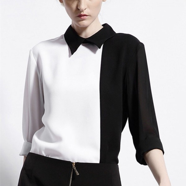 White-Black-Women-Blouse-Contrast-Long-Sleeve-Turn-Down-Shirt-Collared-Casual-Women-Shirt-2015-Spring-1