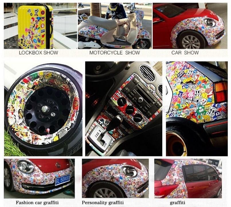 обклеенный стикерами авто