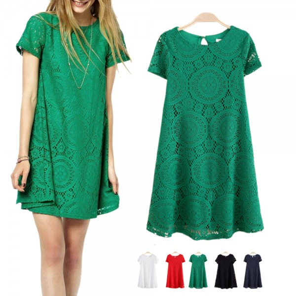 2016-Woman-Casual-Dress-summer-dress-girl-Short-Sleeve-O-Neck-Lace-Dress-S-4XL-hollow-1