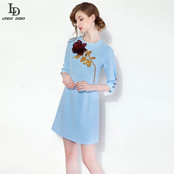 High-Quality-New-2015-Designer-Runway-Summer-Dress-Women-s-3-4-Sleeve-Gold-Sequin-Beading-1