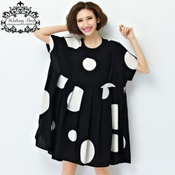 New-Summer-Dress-Plus-Size-Women-Chiffon-Polka-Dot-Clothing-Loose-Big-Size-Female-Casual-Dress-1