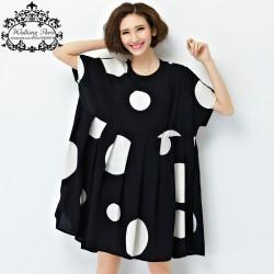 New-Summer-Dress-Plus-Size-Women-Chiffon-Polka-Dot-Clothing-Loose-Big-Size-Female-Casual-Dress-1