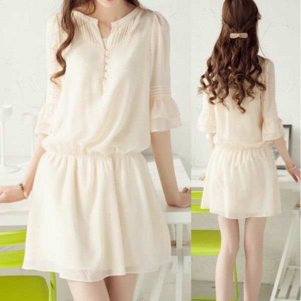 Summer-Dresses-2016-Thin-Korean-Large-Size-Women-Dress-Chiffon-Temperament-Seven-Sleeve-Dress-1