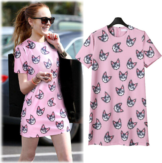 TIC-TEC-Free-Shipping-2016-new-arrive-women-casual-dress-short-sleeve-O-neck-cat-print-1