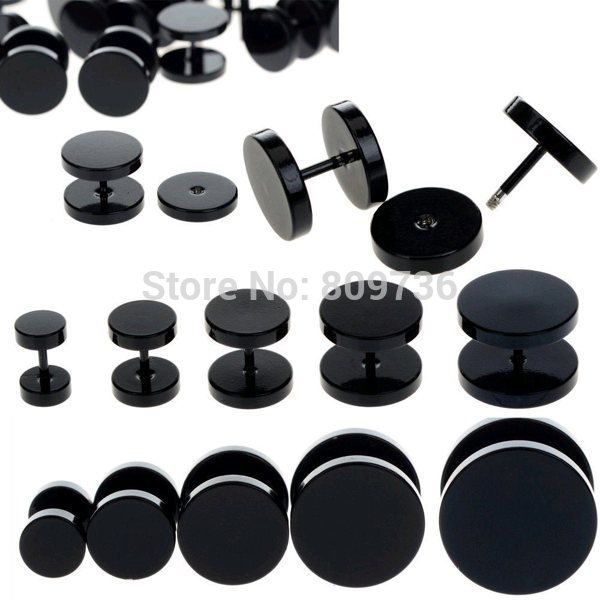 10pcs-Black-Stainless-Steel-Fake-Cheater-Ear-Plugs-Gauge-Body-Jewelry-Pierceing-Earring-For-Men-1-1
