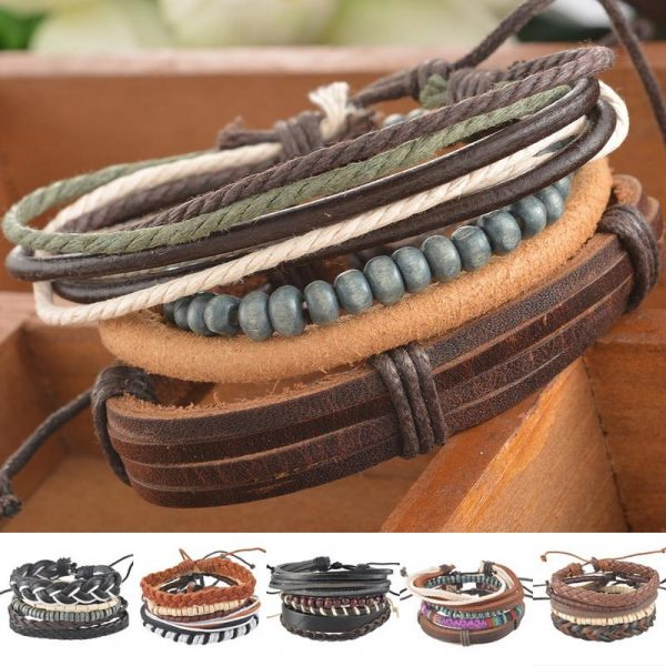 1Set-4pcs-Braided-Adjustable-Leather-popular-Bracelet-Cuff-Women-Men-s-Casual-Jewelry-1