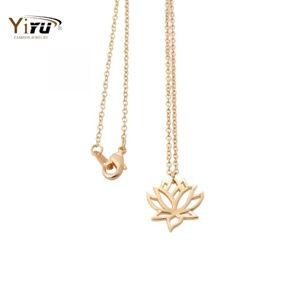 2016-New-Gold-and-Silver-Lotus-Women-Long-Chain-Necklace-Small-Cute-Flower-Plant-Pendant-Jewelry-1