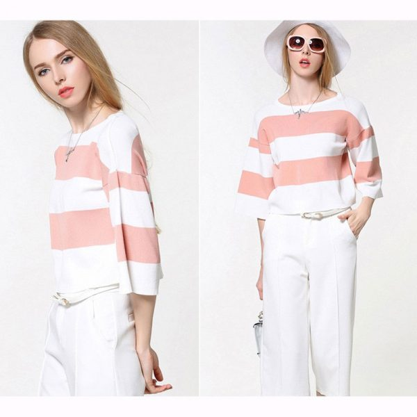 2016-New-Sale-Women-s-Summer-Stripe-Sweater-Knit-Pullover-Women-Knit-Wears-Thin-Sweater-Women-1