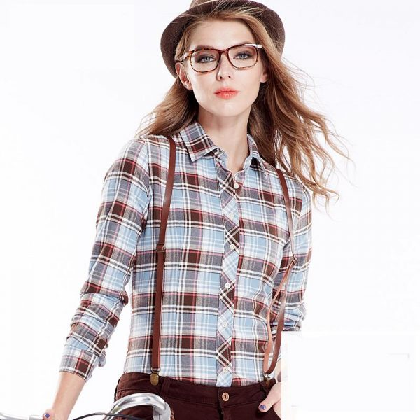 2016-Spring-Women-s-Plaid-Shirt-Blusas-Blouses-Women-Females-Fashion-100-Cotton-Brushed-Casual-Shirts-1