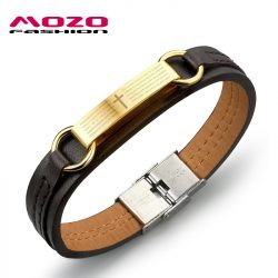 2016-new-fine-fashion-jewelry-Genuine-PU-leather-Gold-Cross-Men-Classical-bracelets-Personality-gift-creative-1