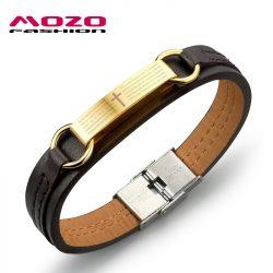 2016-new-fine-fashion-jewelry-Genuine-PU-leather-Gold-Cross-Men-Classical-bracelets-Personality-gift-creative-1