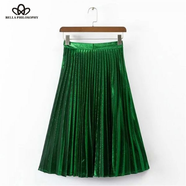 2016-spring-summer-new-metal-velvet-pleated-green-blue-red-women-long-skirt-1