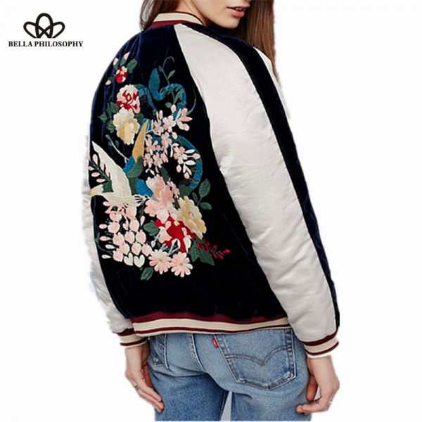 Bella-Philosophy-2016-autumn-winter-new-women-s-Heavy-embroidered-flowers-birds-long-sleeve-velvet-bomber-1