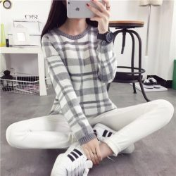 De-Dove2016-Korean-version-of-the-new-winter-women-s-sweater-short-paragraph-plaid-long-sleeved-1