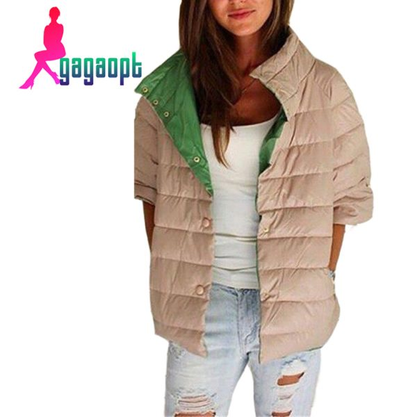 Gagaopt-Bomber-Jacket-Khaki-Black-Female-Down-Jacket-Women-Basic-Coats-Half-Sleeve-Parka-Warm-Winter-1