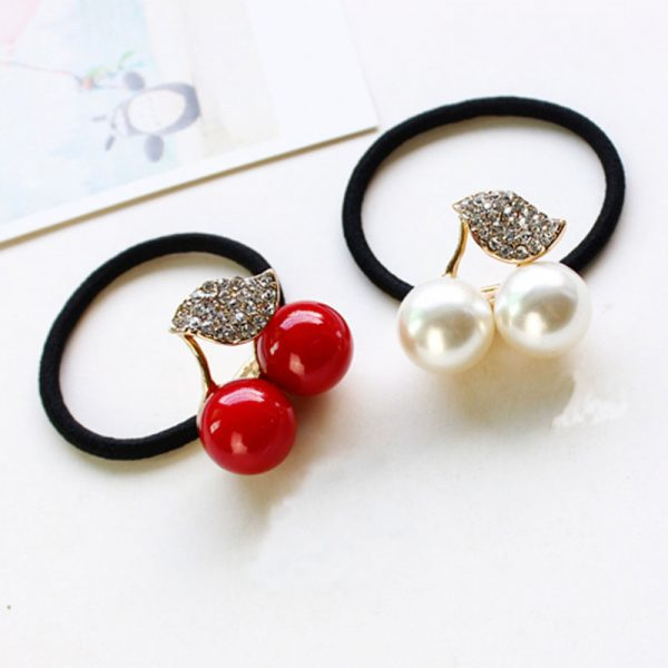 Hot-Sale-Red-White-Simulated-Pearl-Crystal-Leaf-Cherry-Rubber-Band-Elastic-Hair-Bands-Girls-Hair-1