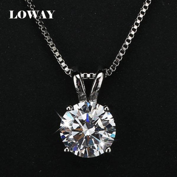 LOWAY-Classic-Permanent-2-Carat-Solitaire-Hearts-and-Arrows-Cubic-Zirconia-Pendant-Necklace-Fine-Jewelry-for-1