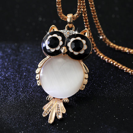 New-Brand-Fashion-Charms-Crystal-Owl-Necklace-Gem-Cubic-Zircon-Diamond-18K-Gold-Long-Chain-Necklaces-1