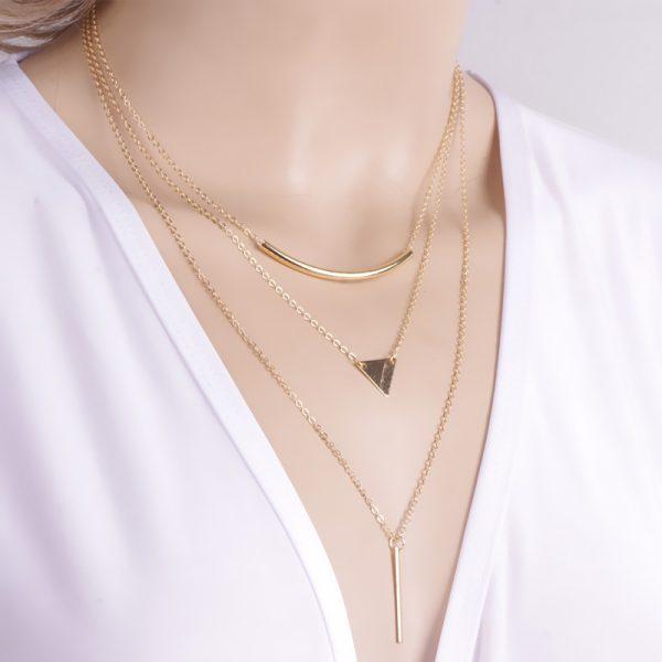 New-Fashion-Multi-layer-Geometric-Designed-Gold-Silver-Bar-Stick-Triangle-Chain-Choker-Necklace-Pendant-2L3013-1