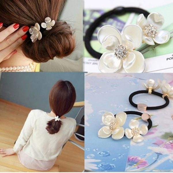 New-Sale-Hair-Jewelry-Girls-Tiara-Headband-Two-Shell-Flower-Bridal-Hair-Accessories-Elastic-Hair-Band-1